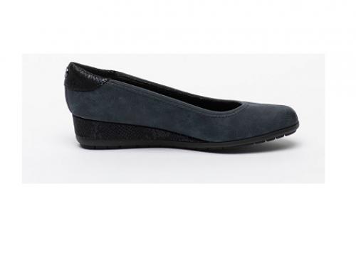 Pantofi de damă s.Oliver H-TL4DSW cu platformă, wedge, bleumarin, din piele ecologică
