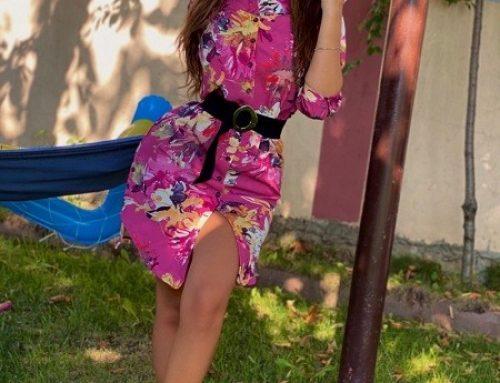 Kalina G-UW5DQ, rochie scurtă casual tip cămașă cu imprimeu floral și curea în talie