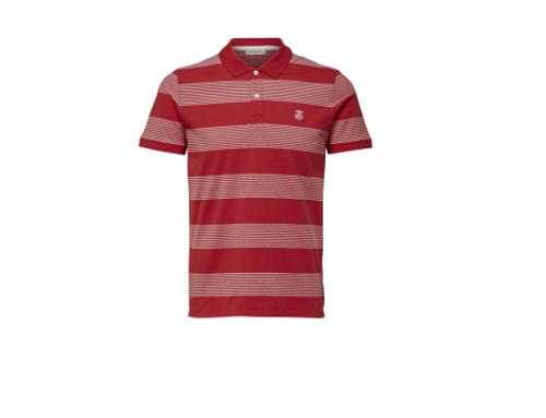Tricou Selected G-LHT4GQ bărbați din bumbac stil polo, cu imprimeu în dungi, roșu