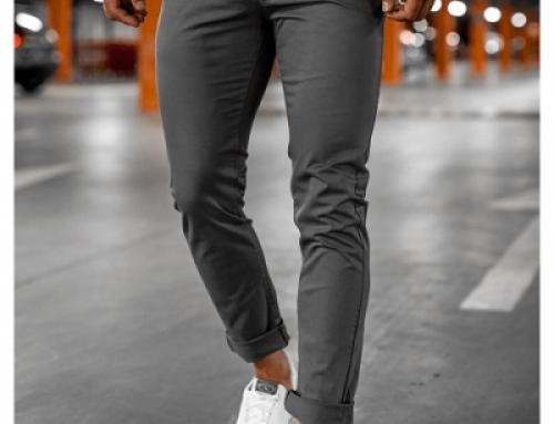 Pantaloni Garmon W/L5gDQS stil chinos pentru bărbați, gri, casual, din bumbac, cu buzunare