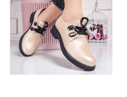 Clover N/S5WLQ, pantofi de damă casual cu tapă joasă, din piele naturală, bej, stil Oxford, Misua
