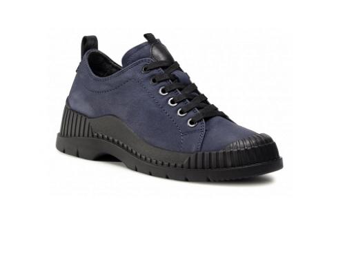 Pantofi cu talpă joasă S/F4UwQ Sergio Bardi de damă casual din piele naturală, bleumarin, cu șiret