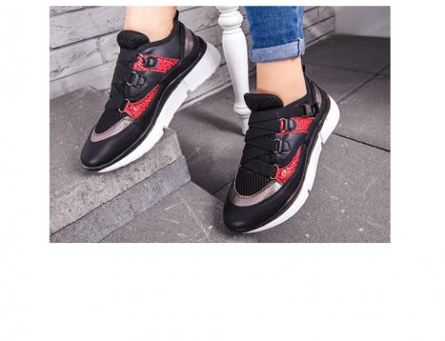 Pantofi sport de damă B/LQ5DsT Honesty cu șireturi late, negri, din piele ecologică, cu talpă plată, Lanisa