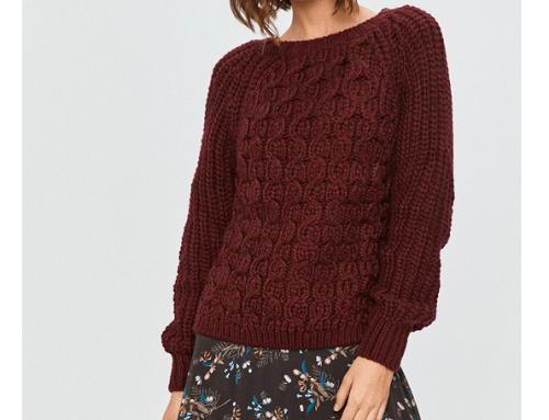 Pulover de damă F/L4SWQM Answear tricotat din amestec cu lână gros, cu împletituri, mâneci reglan și aspect larg