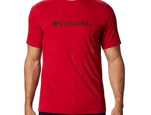 Tricou bărbați Columbia D/LH4EWQ din bumbac drept casual roșu cu decolteu rotund