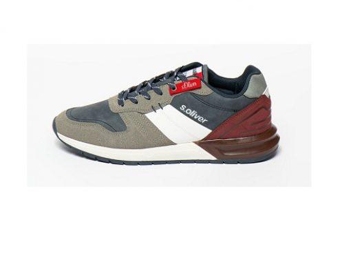 s.Oliver U/DL7qW, pantofi sport cu talpă plată pentru bărbați, din piele ecologică, aspect colorblock