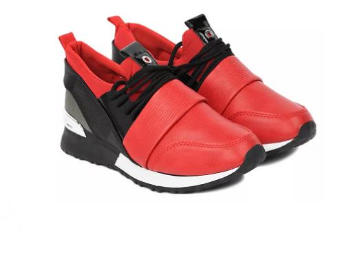 Fallan E-DBdE4Q, pantofi sport de damă roșii cu talpă plată, din piele ecologică, cu vârf rotund
