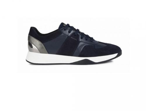 Pantofi sport din piele naturală GwQL4D-T Geox de damă cu talpă plată, bleumarin