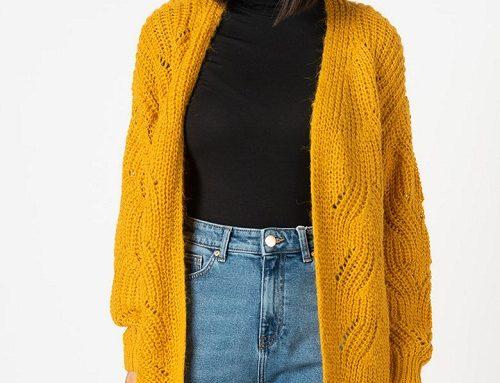 Cardigan GW-LeW3U Only de damă tricotat cu perforații, galben șofran, cu mânecă amplă și fară închidere
