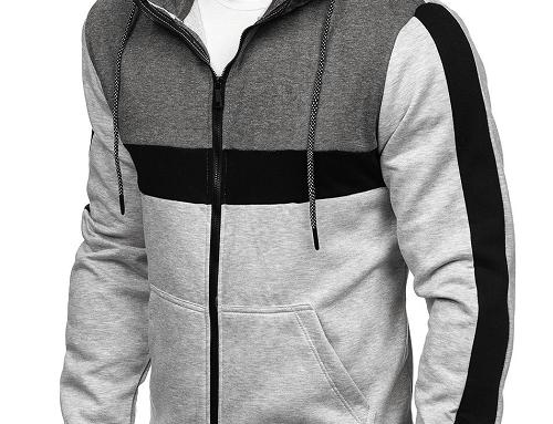 Hanorac Zennas HL2qTB cu glugă pentru bărbați, din bumbac, stil sport, cu fermoar și buzunare laterale