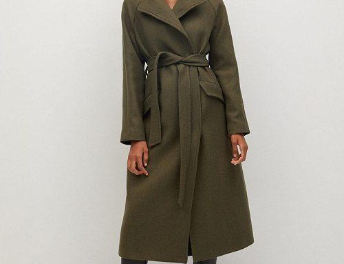 Palton din lână FL/Gu4SWQ Mango de damă, maro auriu, drept, cu buzunare și cordon în talie