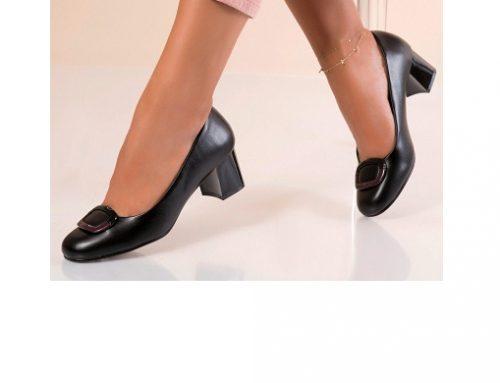 Pantofi Sonja LU/WgD4Q de damă office negri cu toc masiv, din piele ecologică