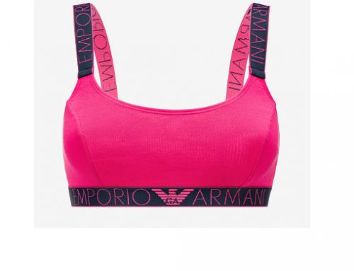Sutien sport WF-LqD4E Emporio Armani roz cu bretele elastice, din bumbac