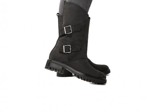 Hollyn EdB5L, cizme de damă casual din piele naturală netedă cu talpă joasă și toc plat, negre, închidere cu catarame