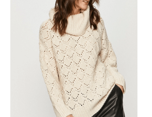 Pulover de damă DeWL-G42ML Answear tricotat din lână, crem, cu guler mare, împletitură, umerii lăsați și croială largă