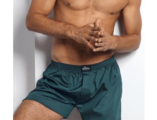 Matthias EwD-H4LQD, șort de noapte bărbați din bumbac satinat, verde închis, cu elastic și nasture, Elka Lounge