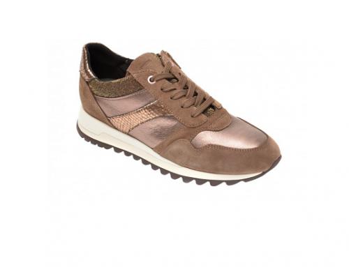 Pantofi sport de damă BHE-SW4QL Geox din piele naturală, maro, cu aplicație metalizată