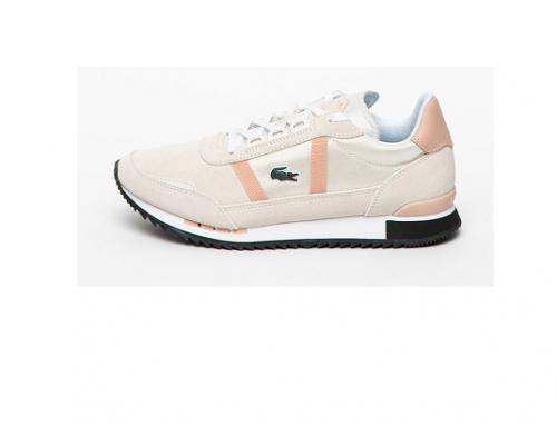 Pantofi sport din piele întoarsă WsQL-NH41D Lacoste de damă clasici cu talpă plată, alb prăfuit,