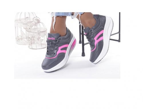 Gretna EWqP-M5TL, pantofi sport de damă gri din piele ecologică, cu talpă plată, Minodora