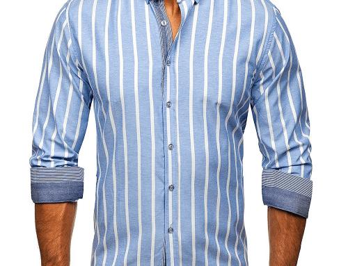 Cămașă bărbați Daylin TwH-S4ULM din bumbac, albastră și cu imprimeu în dungi albe, casual, cu mânecă lungă