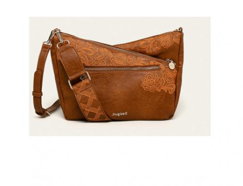 Desigual WL-TQP4D, geantă de damă casual cu broderie decorativă și curea detașabilă, maro auriu,