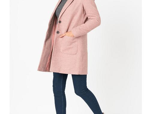 Only WsLM-G2UQH, palton de damă scurt din amestec bumbac, roz pastel, cu revere decupate și buzunare