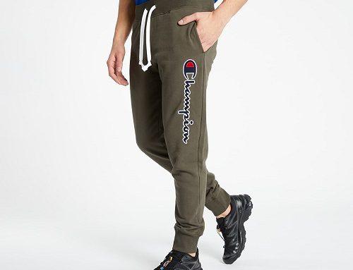 Champion WDK-G4VLU, pantaloni de trening bărbați din bumbac, kaki, cu buzunare mari, broderie și șnur