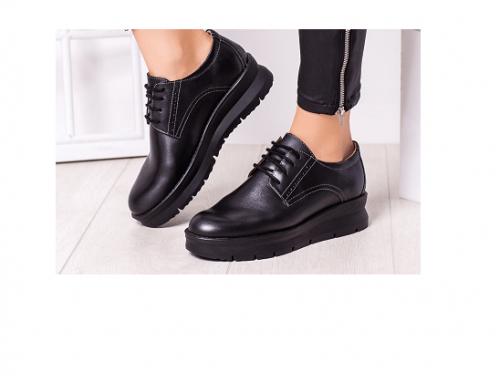 Martina EW-BL4TQPL, pantofi de damă casual cu toc plat, talpă comodă și șireturi, din piele naturală, negri, Aholo