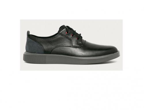 Camper GWqL-E4DQL, pantofi casual bărbați negri din piele naturală cu toc plat și talpă joasă, Bill