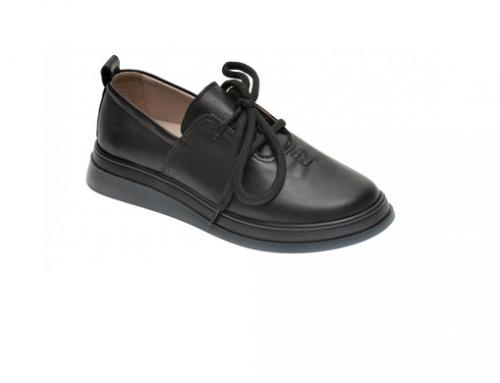 Pantofi cu talpă joasă Flavia Passini GeH-D5uW de damă casual negri din piele naturală, cu șiret și talpă EVA