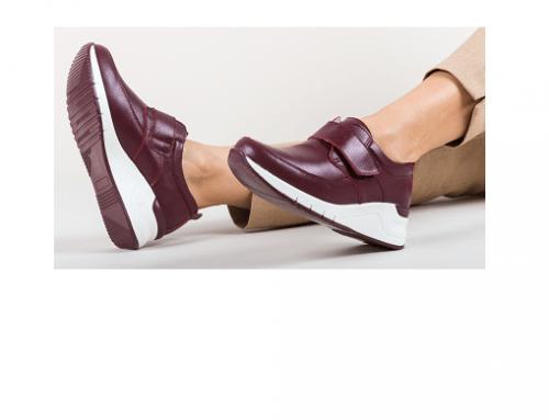 Pantofi ELW-G42UTD Shayla de damă casual din piele naturală, grena, cu platformă de 5cm, Avalos