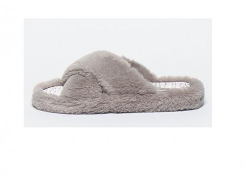 Papuci de damă LqT4U-H7SL Ted Baker de casă din material textil și cu blană, gri, cu talpă plată și vârf decupat