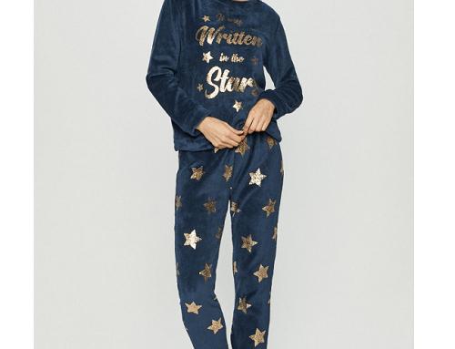 Pijama WDF-H54TGQL Brave Soul de damă albastră cu pantaloni lungi și model cu stele aurii