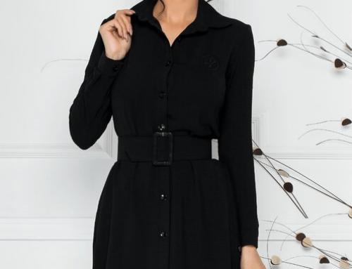 Fawne MHQ-HsU5L, rochie stil cămașă casual neagră din bumbac cu guler clasic, croială lejeră și curea detașabilă