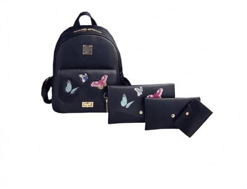 Set rucsac de damă Lavender EsU-D4QW casual negru cu poșetă și portofel, model cu fluturi, din piele ecologică