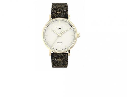 Timex WSqT4UM, ceas de damă TW2U40700 cu brățară din piele naturală cu imprimeu, Quartz, 3ATM, negru