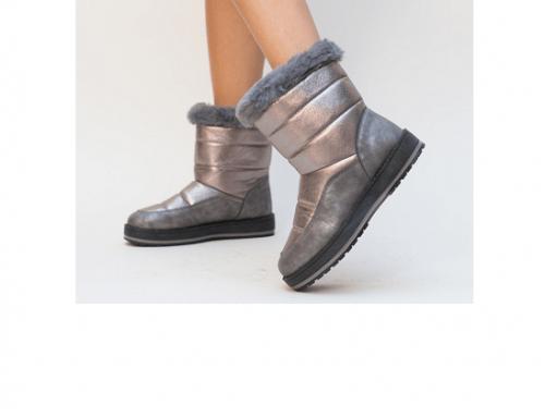 Cizme de damă Zorana LHM5EwT îmblănite cu talpă antiderapantă și plată, gri, cu aspect metalizat, Boran