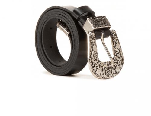 Curea LMYw5HT Lasocki de damă casual din piele naturală netedă, neagră, cu cataramă metalică cu model floral