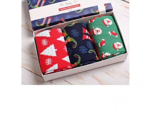Set șosete Devina LHDwS4M de Crăciun din bumbac pieptănat, călduroase, cu imprimeu colorat, 3 perechi, The Happy Toe