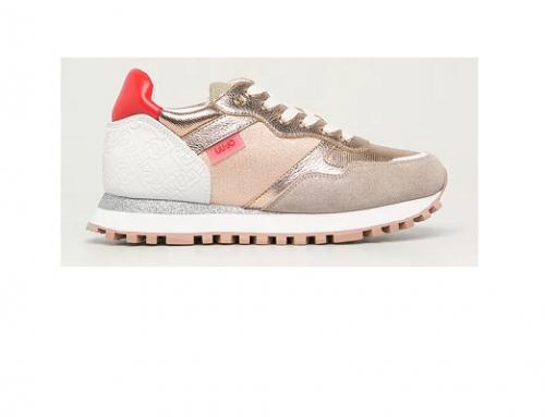 Liu Jo G-TLwS4U, pantofi sport de damă bej din piele naturală cu platformă și aplicație aurie
