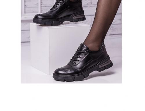 Pantofi sport Vianne DM4TwB de damă din piele naturală negri cu talpă rezistentă, Astela