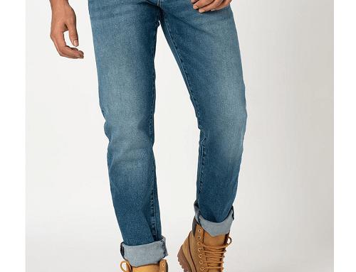 Blugi Superdry EHW-DsL4U pentru bărbați, drepți și cu aspect decolorat, stil casual, albaștri