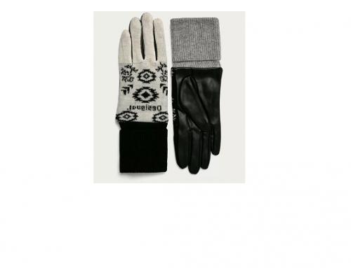 Mănuși de damă EwT4HGU Desigual din amestec cu lână și imitație de piele, negre, cu manșetă elastică
