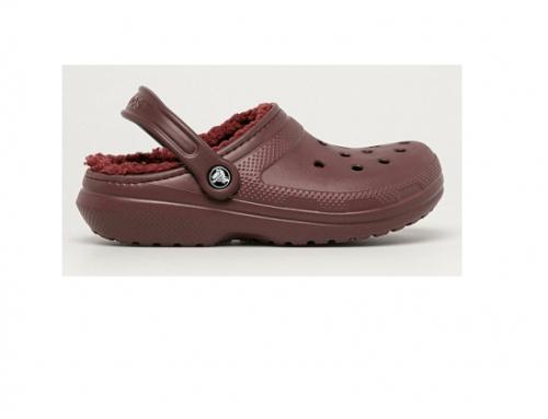Saboți de casă GBwDL4H Crocs de damă căptușiți cu material textil, castan, cu baretă,  talpă plată și perforații