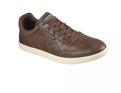 Pantofi sport bărbați WPGwH2D Skechers din piele naturală, maro cu talpă intermediară Air Cooled