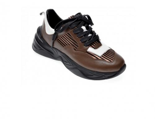 Pantofi sport de damă G-Sd5MSQ Epica din piele naturală maro cu talpă EVA și branț din piele