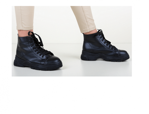Pantofi sport înalți Bartha QLBF5MDS de damă negri din piele ecologică Popicko și cu talpă solidă