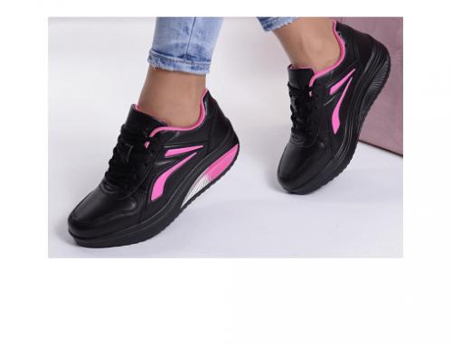 Pantofi sport negri QLT5wS Busra de damă din piele ecologică cu aplicații roz