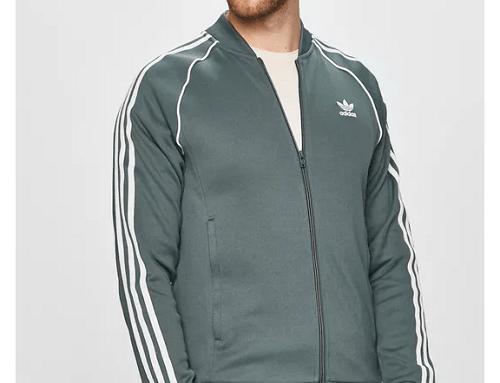 Bluză de trening GHwQ5MU Adidas Originals pentru bărbați cu fermoar și manșete elastice, albastru metalizat
