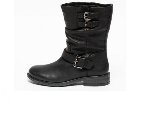Geox DSL-WHN2B, cizme de damă din piele naturală, casual, cu toc mic și talpă joasă, Catria